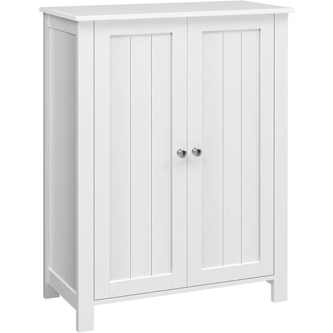 Freestanding Bathroom Cabinet Storage Cupboard Unit with 2 Doors and 2 Adjustable Shelves White BCB60W