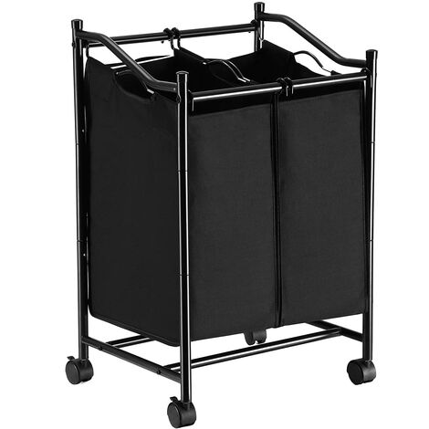 2-Bag Rolling Laundry Sorter, Laundry Basket on Wheels, Hamper with Removable Bags, Total Capacity 90L, Black, LSF002BK