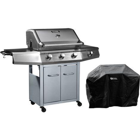 """Barbecue Gaz """"Bingo 4"""" - 4 brûleurs dont 1 latéral - 14kW + Housse protection - Argenté"""