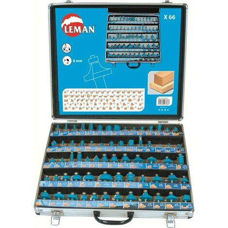 Valigetta LEMAN Set 66 punte assortite per fresa verticale - 42870066