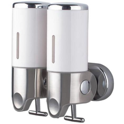 Double distributeur de savon et shampoing 2 x 500 ml blanc opaque économique et ergonomique