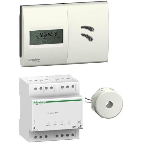 Gestionnaire d'energie 2Z à fil pilote 230V avec boitier d'ambiance + délesteur 3 voies de chauffage et ECS SCHNEIDER 15785