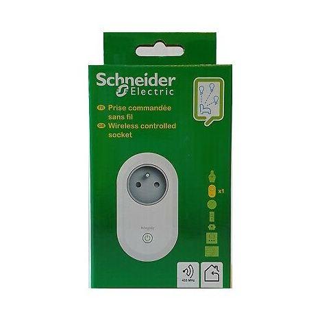 Prise 2P+T 16A radiocommandée blanche sans fil (sans télécommande) 433MHz SMARTCONTROL SCHNEIDER CCTSA43001