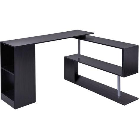 HOMCOM 360° Rotating Corner Desk Storage Shelf Combo Workstation L-Shaped - Black