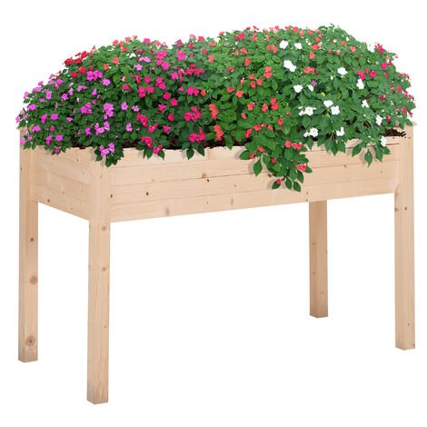 Outsunny Wood Planter Box Stand Garden Bed Planter Vegetables Flower Herbs Indoor Outdoor