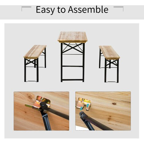 Outsunny Portable Folding Camping Picnic Trestle Table and Bench Set Garden BBQ Chairs Stools Wooden Wood