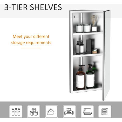 Homcom Stainless Steel Wall mounted Bathroom Corner Mirror Cabinet 300W (mm)