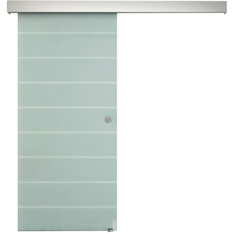 HOMCOM Indoor Sliding Barn Door Tempered Frosted Glass Rolling Rail w/ Handle 2M