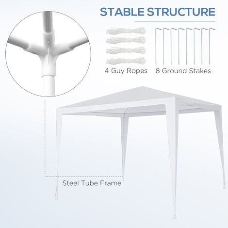 Outsunny 2.7 x 2.7m Garden Gazebo Marquee Party Tent Wedding Canopy - White