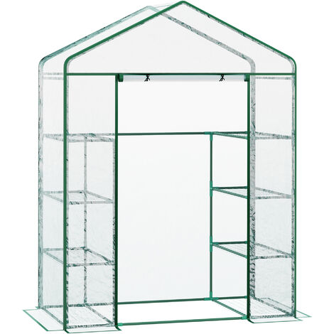 Outsunny Walk-in Greenhouse w/ 8 Shelves and Metal Frame 143L x 73W x 195H (cm)