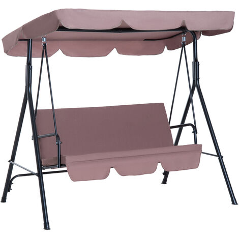 Outsunny Garden Patio Swing Chair 3 Seater Swinging Hammock Canopy Outdoor Cushioned Bench Bed Seat