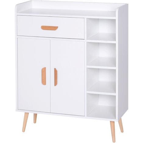 HOMCOM Side Cabinet Storage Unit Home Furniture Sideboard Organiser White