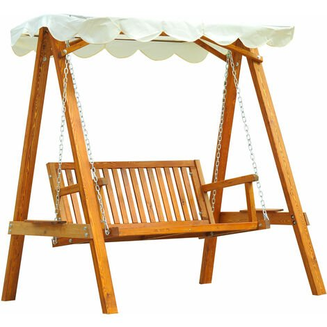 Outsunny 2 Seater Wooden Garden Swing Chair Bench Furniture (Cream)