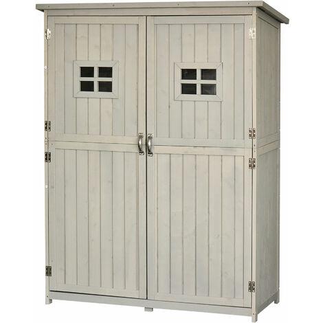 Outsunny Fir Wood Garden Shed Outdoor Storage Unit w/ Shelves Windows Light Grey