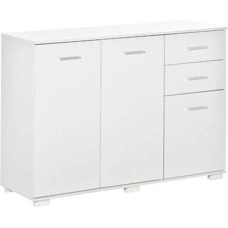 HOMCOM High Gloss Modern Storage Cabinet Home Organisation Unit w/ 6 Feet White