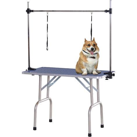 PawHut Dog Pet Grooming Table Metal Frame Rubber Top w/ 2 Slings Storage Basket Blue