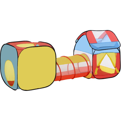 HOMCOM Pop-Up Play Tunnel House 3-in-1 Foldable Multicoloured Fun Activity