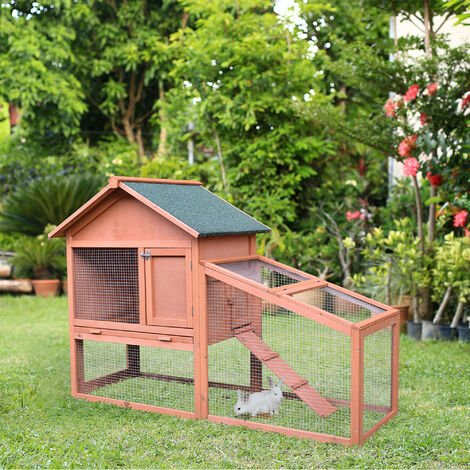 PawHut 2-Level Wood Rabbit House Hutch w/ Outdoor Run UV Water Resistant Roof Natural