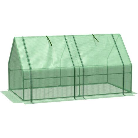 Outsunny Mini Greenhouse Wide Low Steel Frame Mesh w/ 2 Zipped Doors 90x180cm