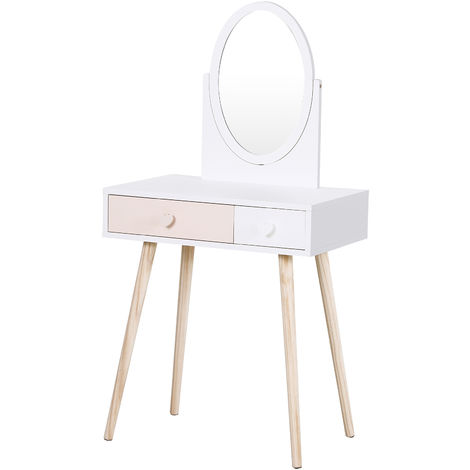 HOMCOM 2-Drawer Kids Dressing Table w/ Mirror Wood Legs Heart Handles White Pink