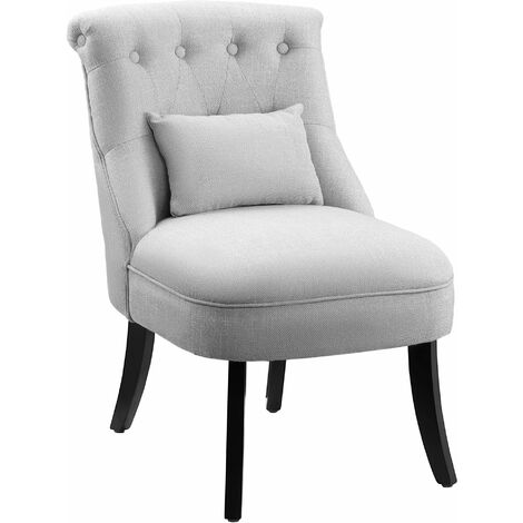 HOMCOM Padded Armless Chair w/ Wood Legs Extra Pillow Button Tufting Grey