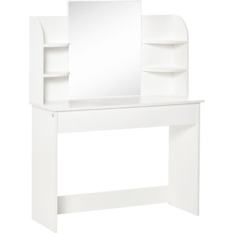 HOMCOM Dressing Table w/ Drawer Mirror 6 Shelves Vanity Makeup Spot White