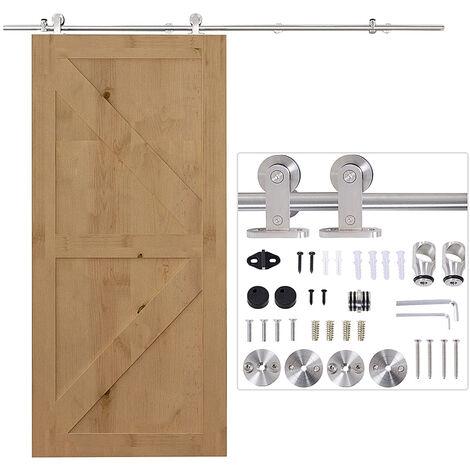 HOMCOM 35-45mm Wooden Sliding Door Kit Stainless Steel Smooth Operation Hardware