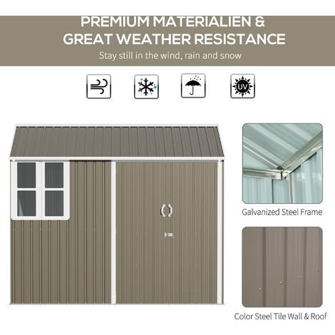 Outsunny 8x6ft Corrugated Metal Garden Shed w/ Double Door Latch Window Grey