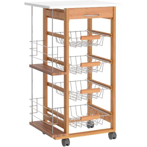 HOMCOM Multi-Use Kitchen Island Trolley Baskets Side Racks Drawer Worktop Brown