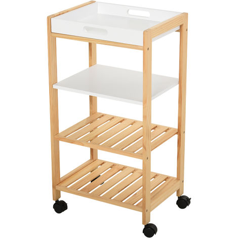 HOMCOM 4-Tier Moving Trolley MDF Wood Blend w/ Tray Shelves 4 Wheels Home Office