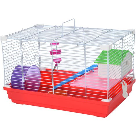PawHut Small Animal Cage w/ Wheel House Feeder Pet Travel Activity Exercise