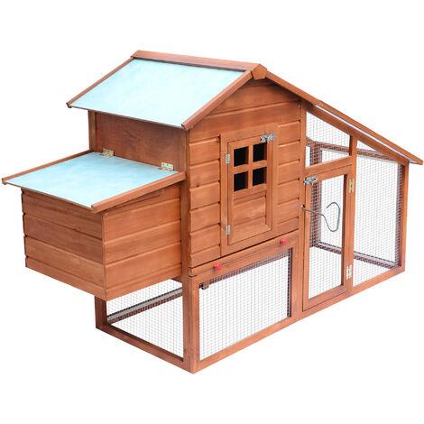 Pawhut Chicken Hen Poultry Coop House Rabbit Hutch Ark Coup Run Nest Box 3-10 Birds W190xD66xH116cm