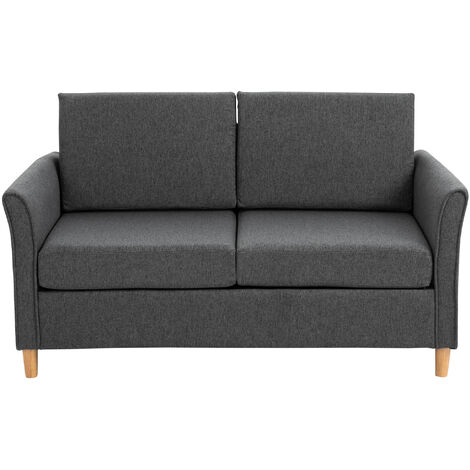 HOMCOM Double Seat Linen Sofa Loveseat Couch w/Armrest Wood Frame Dark Grey