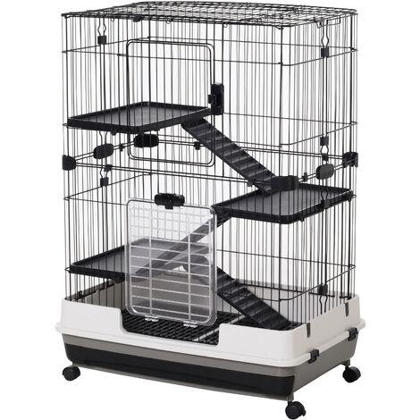 PawHut 4-Level Small Animal Pet Cage w/ Platform Ramp Removable Tray Wheels
