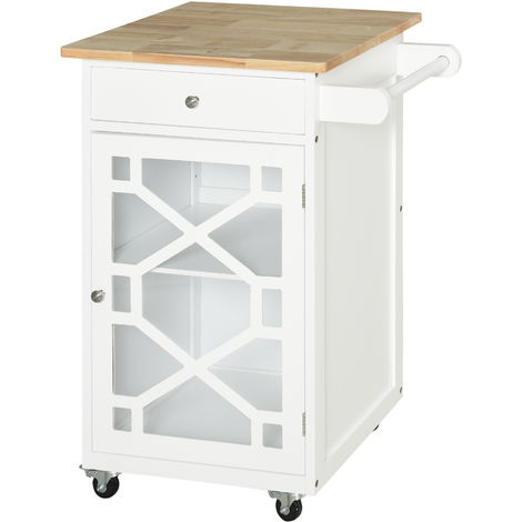 HOMCOM Wooden Rolling Kitchen Storage Cart W/ Drawer Cabinet 360° Wheels