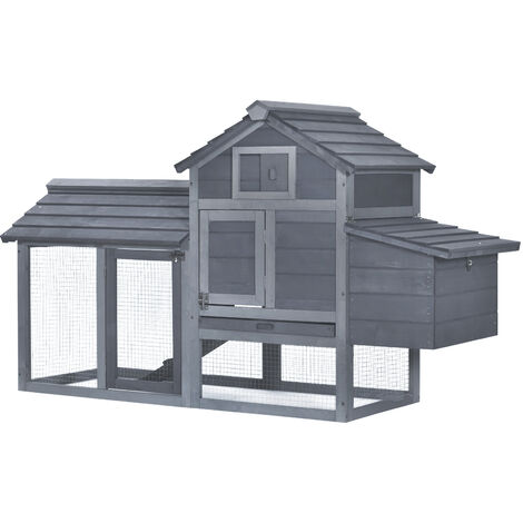 PawHut Wooden Outdoor Chicken Coop Hen House w/ Nesting Box Run Perch Grey