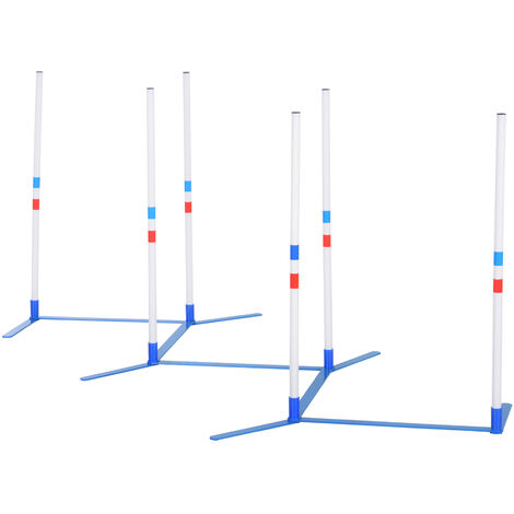 PawHut Dog Weave Pole Agility Set w/ 6 Poles Bag Pet Outdoor Exercise Training