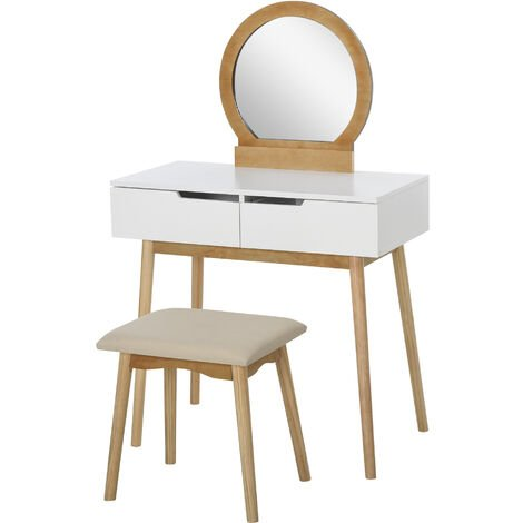 HOMCOM Dressing Table Vanity Table Set Make Up Table with Mirror & Stool Natural