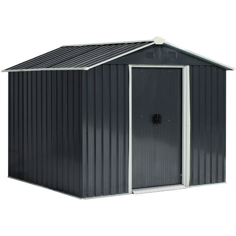 Outsunny 8x6ft Double Door Garden Storage Shed w/ Windows Sloped Roof Grey
