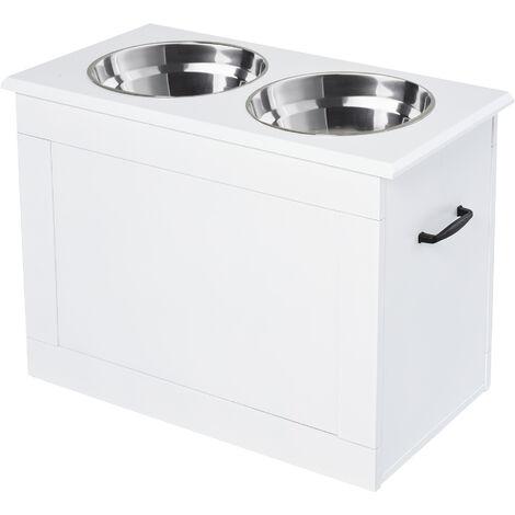 PawHut 2-Bowl Raised Pet Feeding Station w/ Storage Large Dogs Food White
