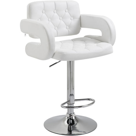 Homcom Swivel Barstool with Arm Rest with Gas Lift Height Adjustable Kitchen