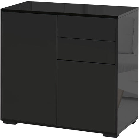 HOMCOM Modern Freestanding Push-OpenCabinet w/ 2 Drawers Cabinet Storage Black