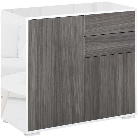 HOMCOM Modern Freestanding Push-OpenCabinet w/ 2 Drawers Cabinet Storage Grey