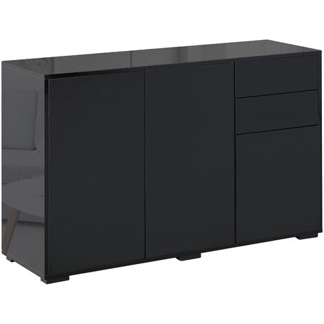 HOMCOM 2 Drawer 2 Cupboard Freestanding Storage Cabinet Home Organisation Black