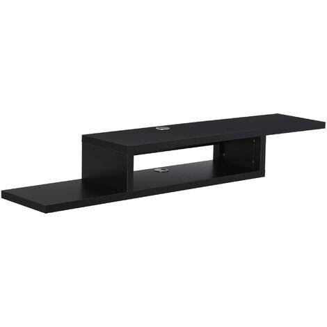 HOMCOM On-Wall Floating TV Media Stand Home Storage Display Unit Black