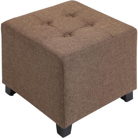 HOMCOM Linen-Look Square Vintage Padded Ottoman Footstool Footrest Brown