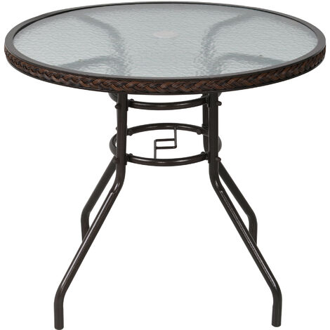 Outsunny Round Rattan Frame Patio Garden Table w/ Thick Glass Top Garden Dining