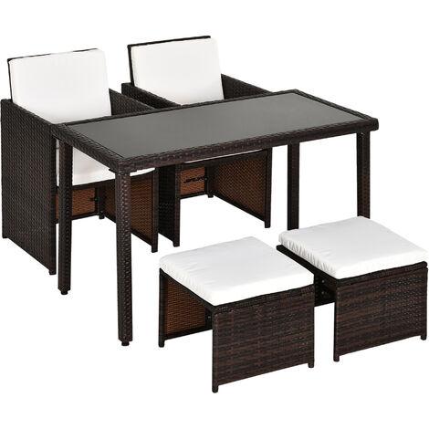 Outsunny 5 PCs Rattan Garden Furniture Wicker Weave Sofa Set Dining