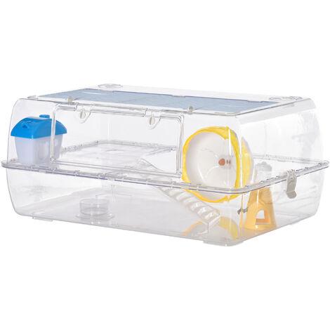 PawHut 2-Tier Plastic Hamster Small Pet Animal Cage w/ Running Wheel Food Bowl
