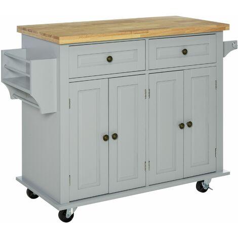 HOMCOM Rolling Kitchen Island Storage Trolley w/ Wood Top Racks & Drawers Grey